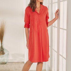 Soft Surroundings Coral Tencel Shirtdress Dress XL